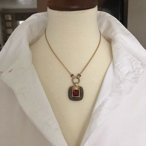 Red Stone and Gold Necklace